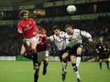 Ole Gunnar Solskjaer scores a header against Bolton Wanderers on January 29, 2002.