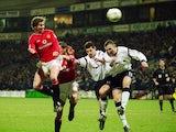 Ole Gunnar Solskjaer scores a header against Bolton Wanderers on January 29, 2002.