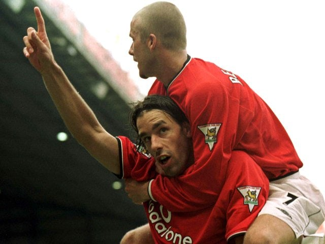 Ruud van Nistelrooy celebrates scoring on his Manchester United debut against Fulham on August 08, 2001.