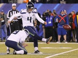 Steven Hauschka #4 of the Seattle Seahawks kicks a 31-yard field goal in the first quarter against the Denver Broncos during Super Bowl XLVIII at MetLife Stadium on February 2, 2014