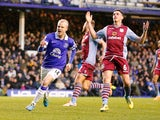 Steven Naismith of Everton celebrates after scoring the first goal during the Barclays Premier League match against Aston Villa on February 1, 2014