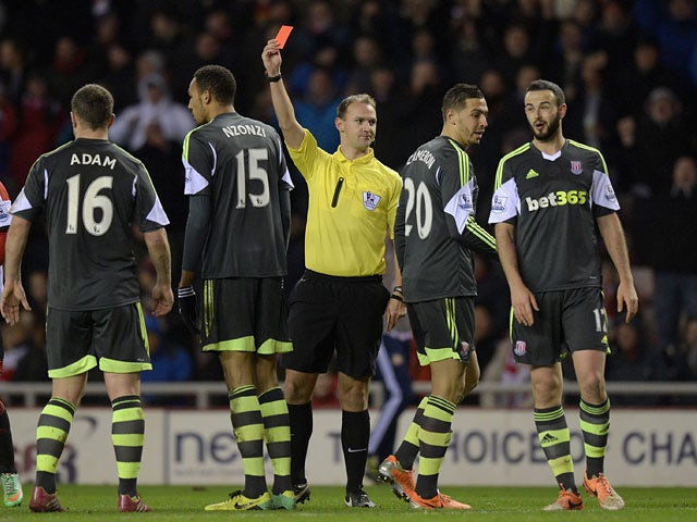 Stoke's Steven N'Zonzi is sent off against Sunderland during their Premier League match on January 29, 2014