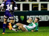 Phil Goodman of Newcastle Falcons scores his opening try during the LV= Cup match between Newcastle Falcons and Newport Gwent Dragons at Kingston Park on January 31, 2014