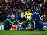 Phil Jones of Manchester United is stretchered off injured during the Barclays premier League match between Stoke City and Manchester United at Britannia Stadium on February 1, 2014