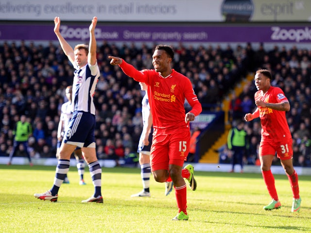 Daniel Sturridge of Liverpool celebrates after scoring the opening goal during the Barclays Premier League match between West Bromwich Albion and Liverpool at The Hawthorns on February 2, 2014