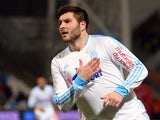 Marseille's Andre-Pierre Gignac after scoring his team's third goal against Bastia during their Ligue 1 match on February 8, 2014