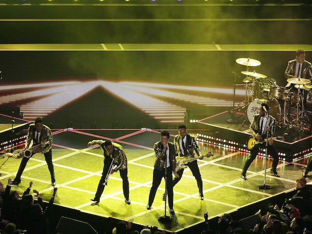 Bruno Mars performs during the Pepsi Super Bowl XLVIII Halftime Show at MetLife Stadium on February 2, 2014