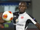 German Eintracht Frankfurt's defender Constant Djakpa (L) controls the ball against Maccabi Tel Avivs on November 7, 2013