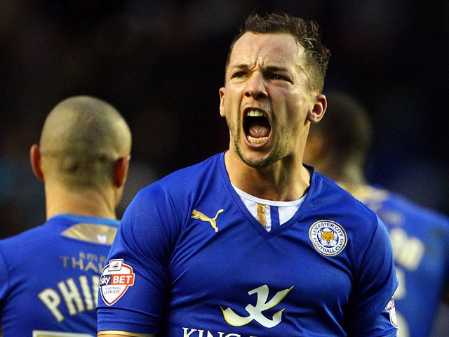Leicester's Daniel Drinkwater celebrates after scoring a late equaliser against Watford during their Championship match on February 8, 2014