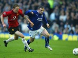 Man United's Darren Fletcher and Everton's Wayne Rooney in action during their Premier League match on February 7, 2004