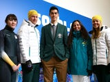 Team Australia athletes Deanna Lockett, Phil Bellingham, Pierre Boda, Hannah Trigger and Esther Bottomley pose ahead of the Winter Olympics in Sochi on February 5, 2014.