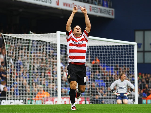 Billy Sharp of Doncaster celebrates his goal during the npower Championship match between Ipswich Town and Doncaster Rovers at Portman Road on November 5, 2011