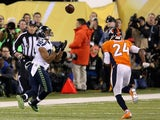 Wide receiver Doug Baldwin #89 of the Seattle Seahawks makes a reception in the first quarter against cornerback Champ Bailey #24 of the Denver Broncos on February 2, 2014