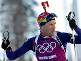 Norway's biathlete Ole Einar Bjoerndalen skis during a training session at the Laura Cross Country Skiing and Biathlon Centre in Rosa Khutor, near Sochi, on February 5, 2014