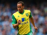 Norwich City's Elliott Bennett in action against Manchester City during their Premier League match on May 19, 2014