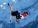 James Woods of Great Britain trains during Ski Slopestyle practice at the Extreme Park at Rosa Khutor Mountain ahead of the Sochi 2014 Winter Olympics on February 5, 2014