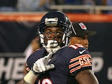 Joe Anderson #19 of the Chicago Bears celebrates a touchdown catch against the Cleveland Browns at Soldier Field on August 29, 2013