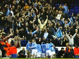 Manchester City players and fans celebrate John Macken's late winner against Tottenham Hotspur on February 04, 2004.