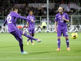 Fiorentina's Josip Ilicic scores the opening goal against Atalanta during their Serie A match on February 8, 2014