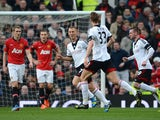 Steve Sidwell of Fulham celebrates scoring the opening goal during the Barclays Premier League match between Manchester United and Fulham at Old Trafford on February 9, 2014