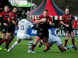Saracens' Matt Stevens takes on the London Irish defence during their Aviva Premiership match on February 8, 2014