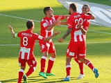 David Williams of the Heart celebrates with his teammates after scoring the winning goal during the round 18 A-League match between Melbourne Heart and Perth Glory at Lavington Sports Ground on February 9, 2014