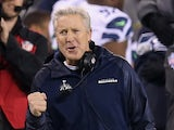 Head coach Pete Carroll of the Seattle Seahawks reacts in the fourth quarter against the the Denver Broncos during Super Bowl XLVIII at MetLife Stadium on February 2, 2014