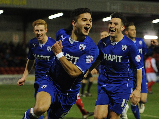 Sam Morsy of Chesterfield celebrates scoring their second goal during the Johnstone's Paint Northern Area Final against Fleetwood Town on February 4, 2014
