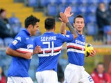 Davide Gastaldello of UC Sampdoria celebrates with his team-mates after scoring the first goal during the Serie during the Serie A match between UC Sampdoria and Cagliari Calcio at Stadio Luigi Ferraris on February 9, 2014