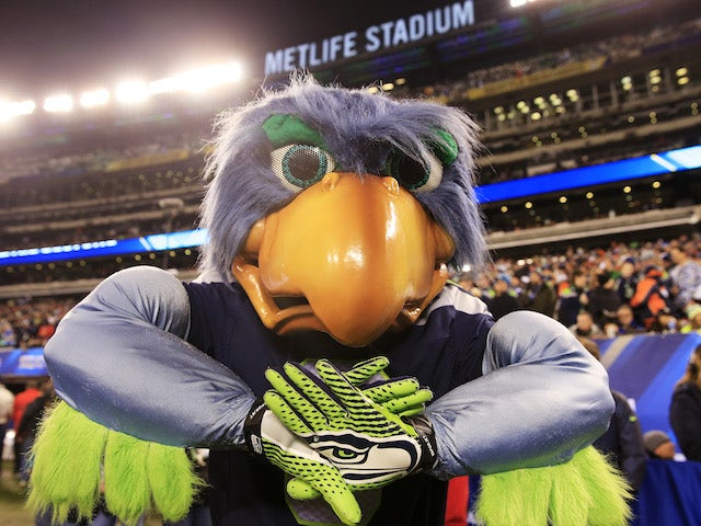 The Seahawks mascots celebrates during Super Bowl XLVIII at MetLife Stadium on February 2, 2014