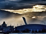 Daylight breaks over the Olympic Stadium ahead of the Winter Olympics in Sochi on February 5, 2014.