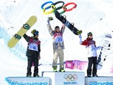 Norway's Staale Sandbech (silver), USA's Sage Kotsenburg (gold) and Canada's Mark McMorris (bronze) on the podium for the men's slopestyle final on February 8, 2014.
