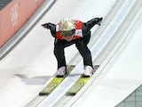 Thomas Morgenstern of Austria takes part in the Men's Normal Hill Individual Ski Jumping training ahead of the Sochi 2014 Winter Olympics on February 6, 2014