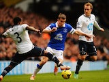 Seamus Coleman of Everton is challenged by Danny Rose and Christian Eriksen of Tottenham Hotspur during the Barclays Premier League match between Tottenham Hotspur and Everton at White Hart Lane on February 9, 2014
