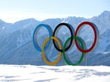 General view of the Olympic rings in Sochi on February 5, 2014.