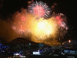Fireworks on display over the Olympic Park during the Opening Ceremony of the Sochi 2014 Winter Olympics at Fisht Olympic Stadium on February 7, 2014