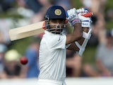 Ajinkya Rahane of India bats during day 2 of the 2nd International Test cricket match between New Zealand and India in Wellington at the Basin Reserve on February 15, 2014