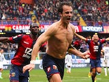 Genoa's Alberto Gilardino celebrates after scoring the equaliser against Udinese during their Serie A match on February 16, 2014
