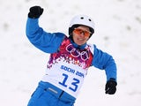 Alla Tsuper of Belarus celebrates after her run in the Freestyle Skiing Ladies' Aerials Finals on day seven of the Sochi 2014 Winter Olympics at Rosa Khutor Extreme Park on February 14, 2014