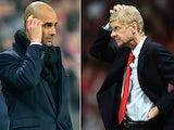 Head coach Josep Guardiola of Bayern Munich and Arsene Wenger the Arsenal manager