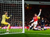 Olivier Giroud of Arsenal misses a chance during the Barclays Premier League match between Arsenal and Manchester United at the Emirates Stadium on February 12, 2014