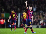 Barcelona's Argentinian forward Lionel Messi celebrates his goal during the Spanish league football match FC Barcelona vs Rayo Vallecano at the Camp Nou stadium in Barcelona on February 15, 2014