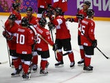Canada celebrates after beating Norway 3-1 during the Men's Ice Hockey Preliminary Round Group B game on day six of the Sochi 2014 Winter Olympics on February 13, 2014