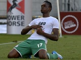Nigerian player Christian Obiozor celebrates after scoring a goal against Zimbabwe during the 2014 African Nations Championship (CHAN) football match against Zimbabwe on February 1, 2014