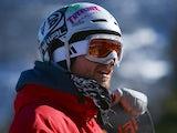 Team GB Snowboarder Dom Harington looks on during a halfpipe training session at the Breckenridge Ski Resort on January 6, 2014