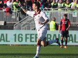 Livorno's Emerson celebrates after scoring the opening goal against Cagliari during their Serie A match on February 16, 2014