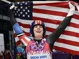 Erin Hamlin celebrates her bronze medal after competing in the Women's Luge Singles event final run at the Sanki Sliding Center during the Sochi Winter Olympics on February 11, 2014