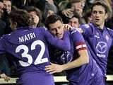 Manuel Pasqual of ACF Fiorentina celebrates after scoring a goal during the TIM Cup match between ACF Fiorentina and Udinese Calcio at Stadio Artemio Franchi on February 11, 2014