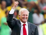 Gordon Igesund manager of South Africa celebrates during the 2014 FIFA World Cup Qualifier match between South Africa and Botswana on September 7, 2013