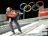 Austria's Gregor Schlierenzauer prepares before his Men's Ski Jumping Large Hill second Official training jump at the RusSki Gorki Jumping Center during the Sochi Winter Olympics on February 13, 2014